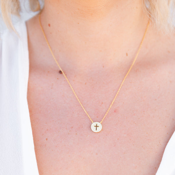 crystal cross necklace, disc cross necklace, gold chain charm necklace, small crystal pendant necklace, religious jewelry