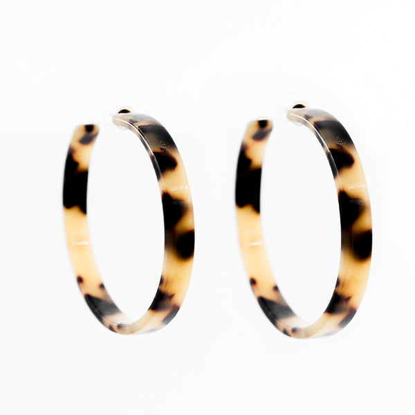 Tortoise Color Flat Hoop Earrings