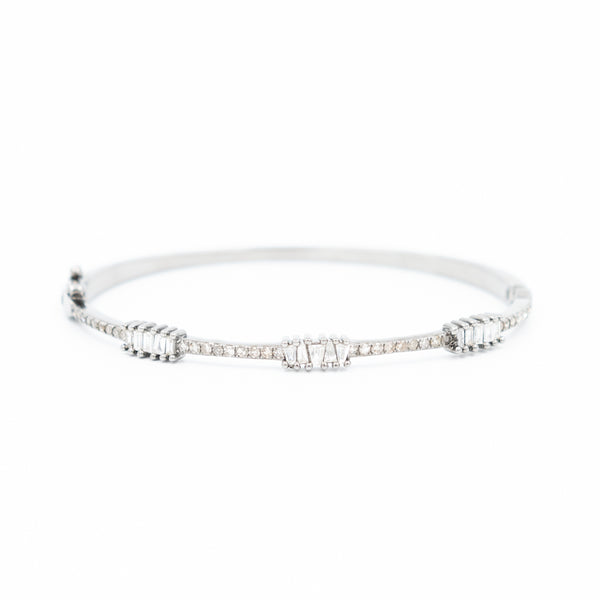 Pave + Baguette Diamond Bangle Bracelet