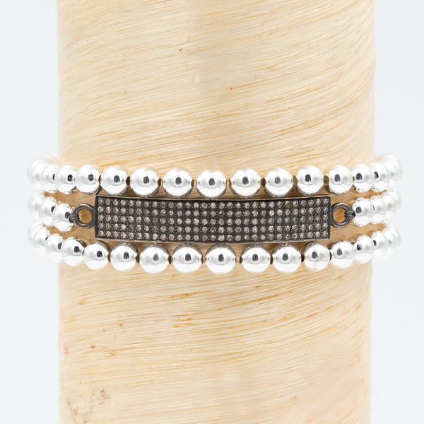 Oxidized Silver Pave Diamond Bar Signature Bracelet