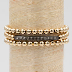 Oxidized Silver Straight Skinny Diamond Bar Signature Bracelet