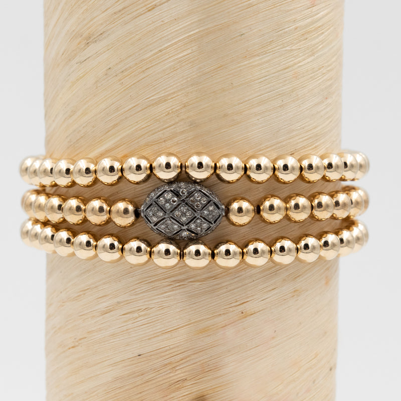 Art Deco Oxidized Silver Diamond Bead Signature Bracelet