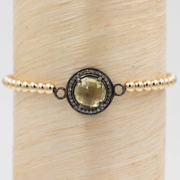 Pave Diamond and Citrine Signature Bracelet