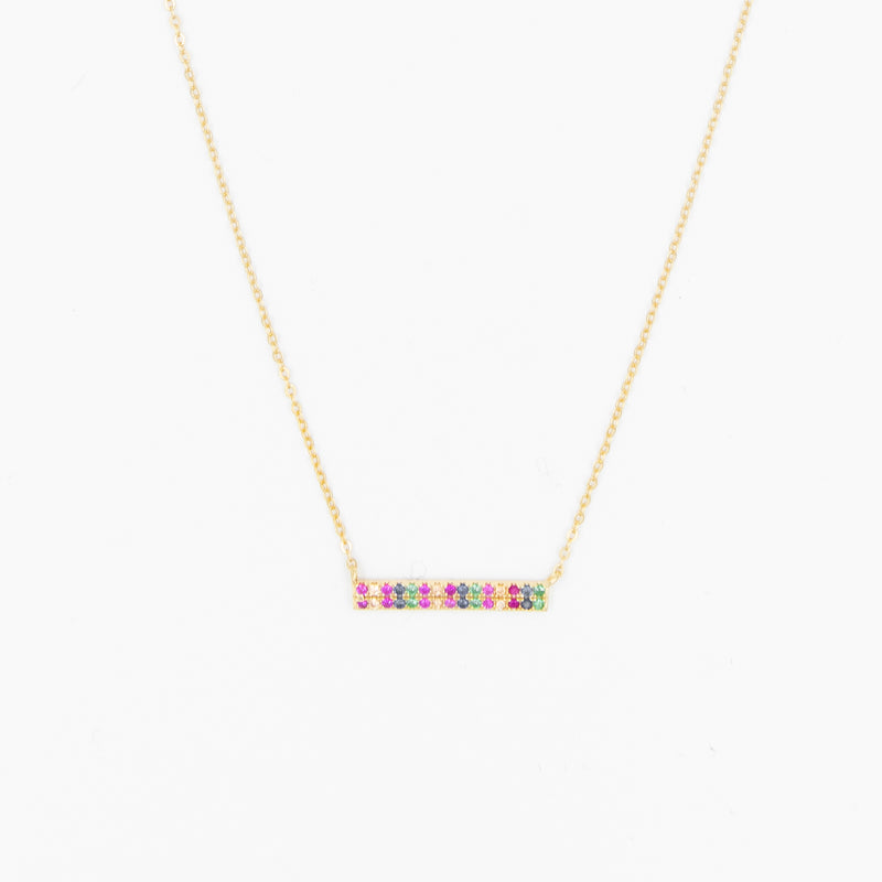 Multi Color Crystal Bar Necklace Layering Necklace Gift Ideas