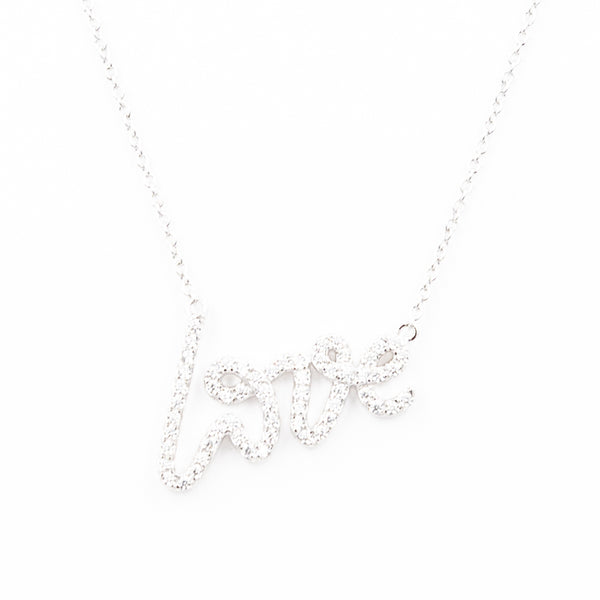 Crystal Scripted Love Necklace