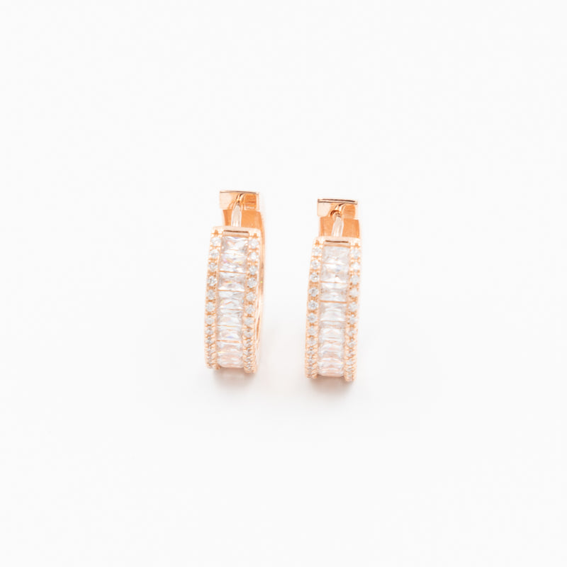 Crystal Channel Huggie Hoop Earrings