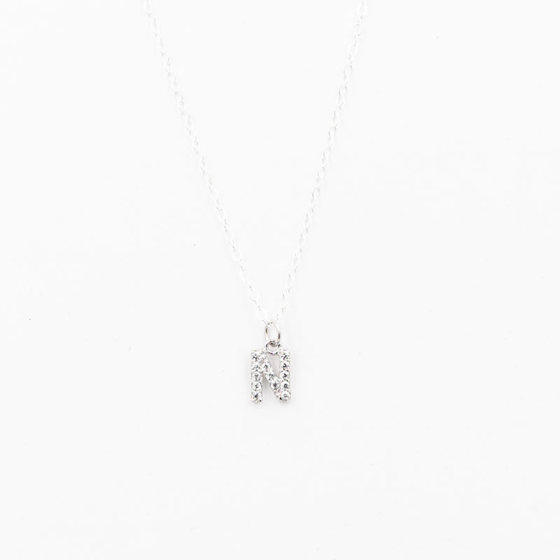 Crystal Initial Charm Necklace