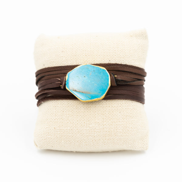 Turquoise Leather Wrap