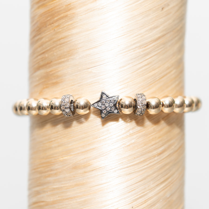 Large Diamond Star + Diamond Ring Beads Signature Bracelet