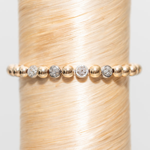 Quad Large Diamond Circle Beads Signature Bracelet