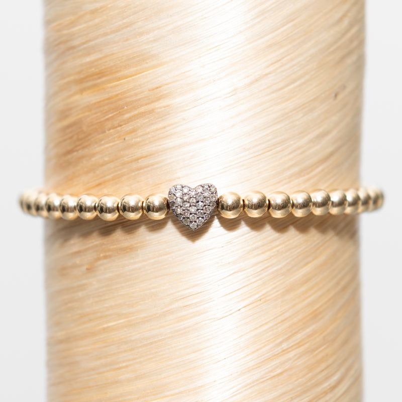 Single Diamond Heart Signature Bracelet