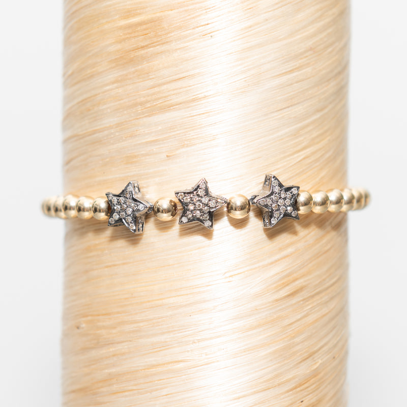 Large Triple Diamond Stars Signature Bracelet