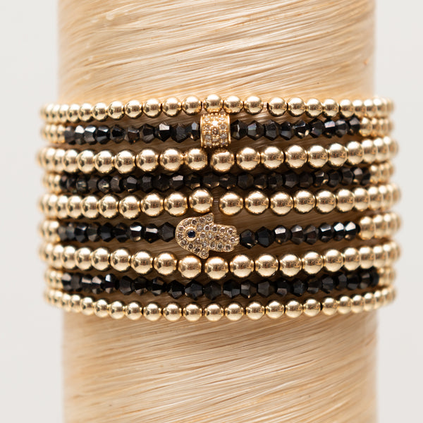Hamsa Hand + Black Spinelle Signature Stack