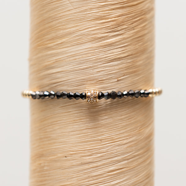 Diamond Bead + Black Spinelle Stone Signature Bracelet