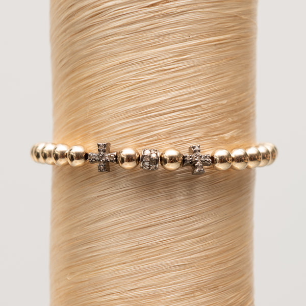 Double Cross + Diamond Bead Signature Bracelet