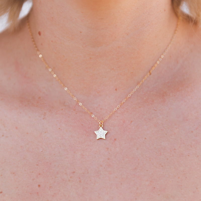 g2g designs layering necklace dangle necklace dainty necklace gift idea mothers day gift birthday gift idea holiday gift idea crystal star necklace crystal star charm