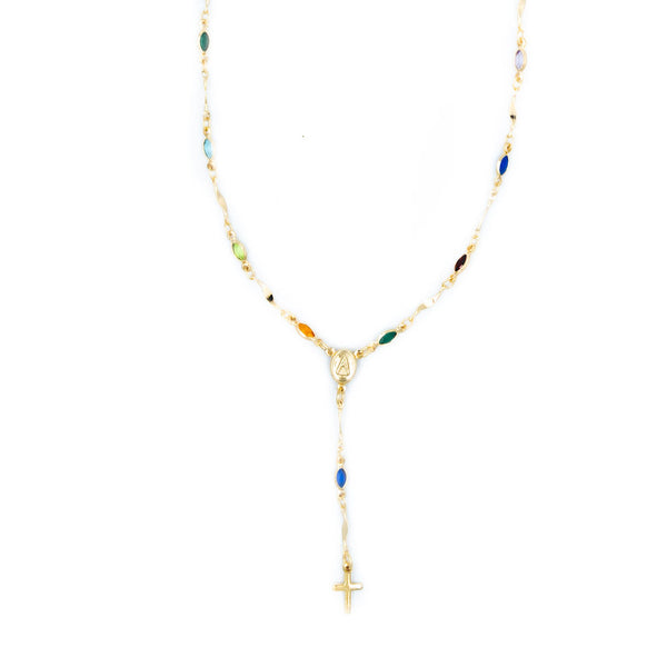 Rainbow Rosary Necklace