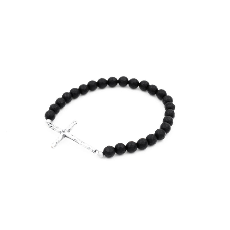 Onyx w/ Cross Bead Bracelet