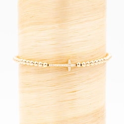Gold Diamond Cross Signature Bracelet