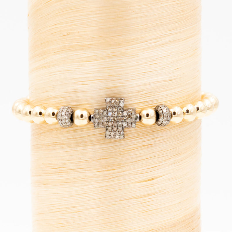 Thick Cross w/ Diamond Bead Signature Bracelet