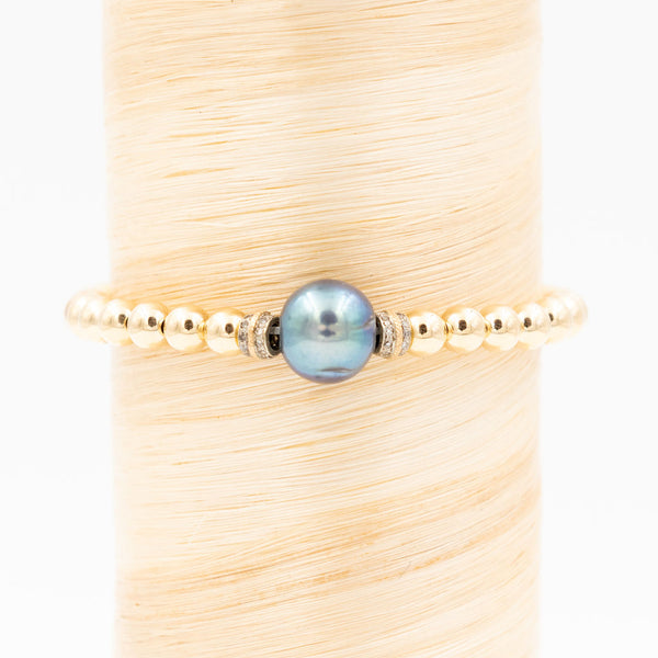 Dark Grey Freshwater Pearl w/ Diamonds Signature Bracelet