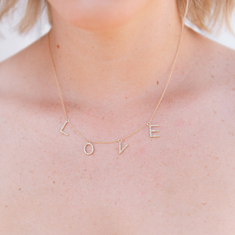 show me love diamond necklace, love charm necklace, layering necklace, diamond charm necklace, dainty necklace