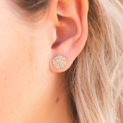 gold circle stud with rose cut diamonds, diamond stud earrings