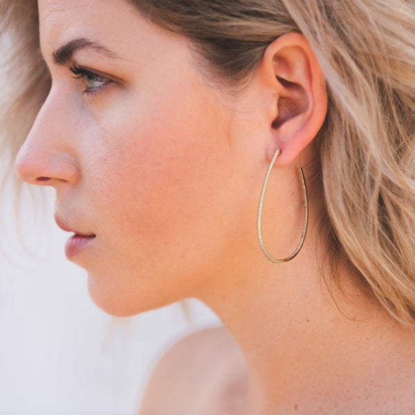 Diamond hoop earrings, oval hoop earrings, gold hoop earrings, classic jewelry