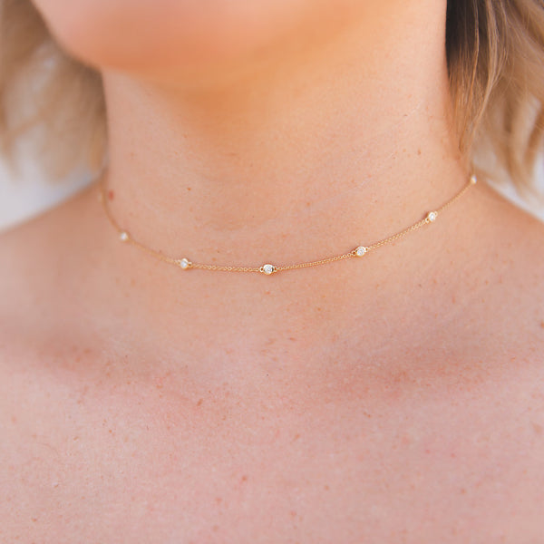dainty diamond necklace, gold diamond necklace, choker, layering necklace