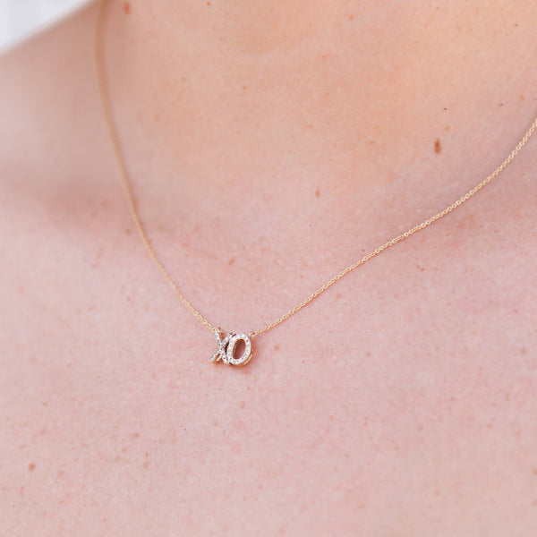 XO charm diamond necklace, hugs and kisses diamond necklace, gold and diamonds charm necklace, anniversary gift ideas
