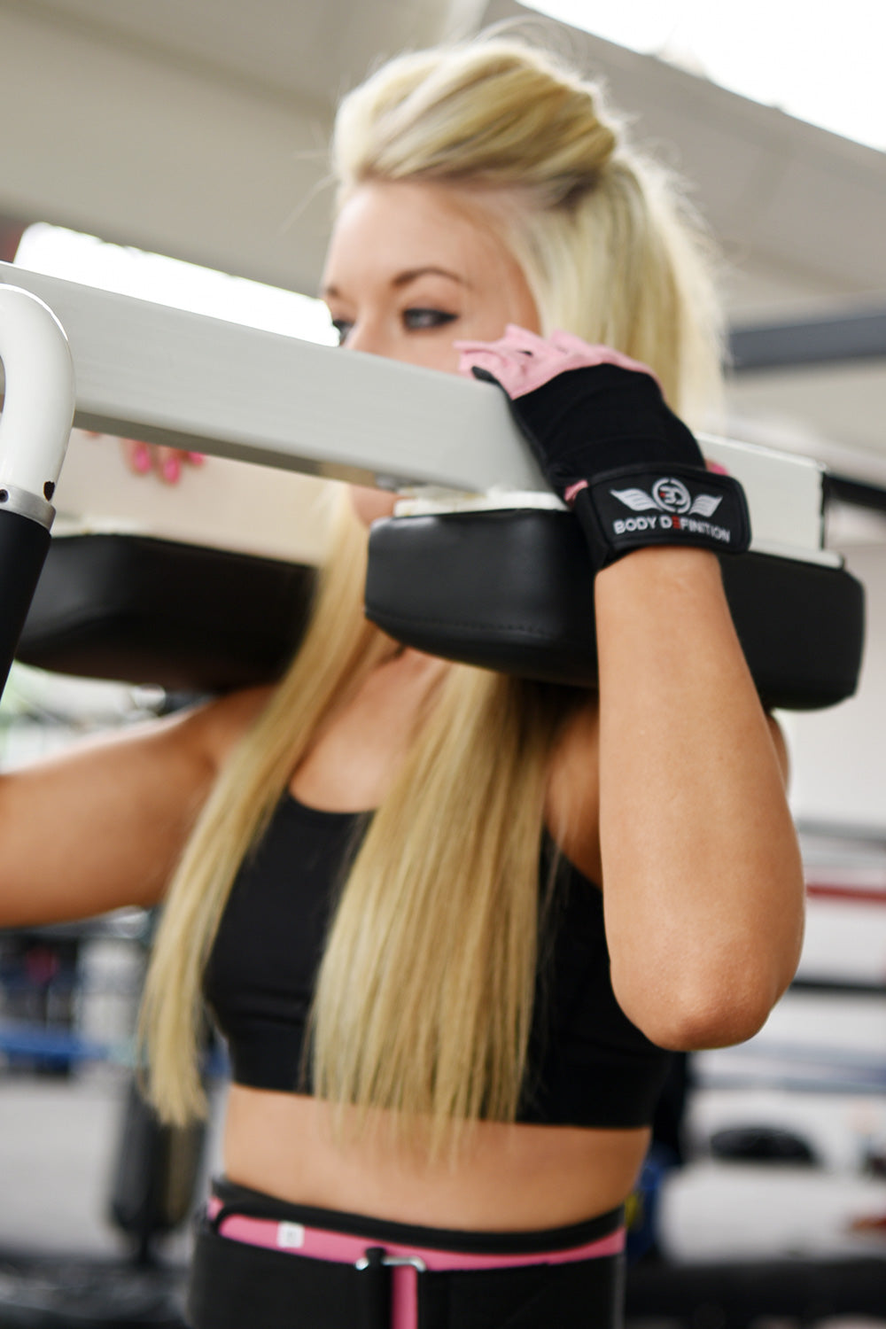 Pink Weight Lifting Gloves Body Definition