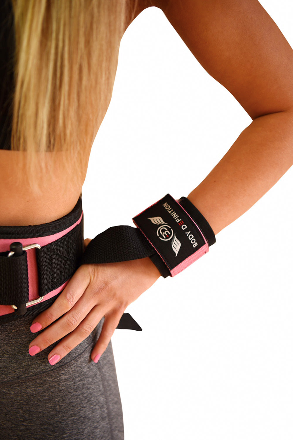 Pink Weight Lifting Straps Body Definition