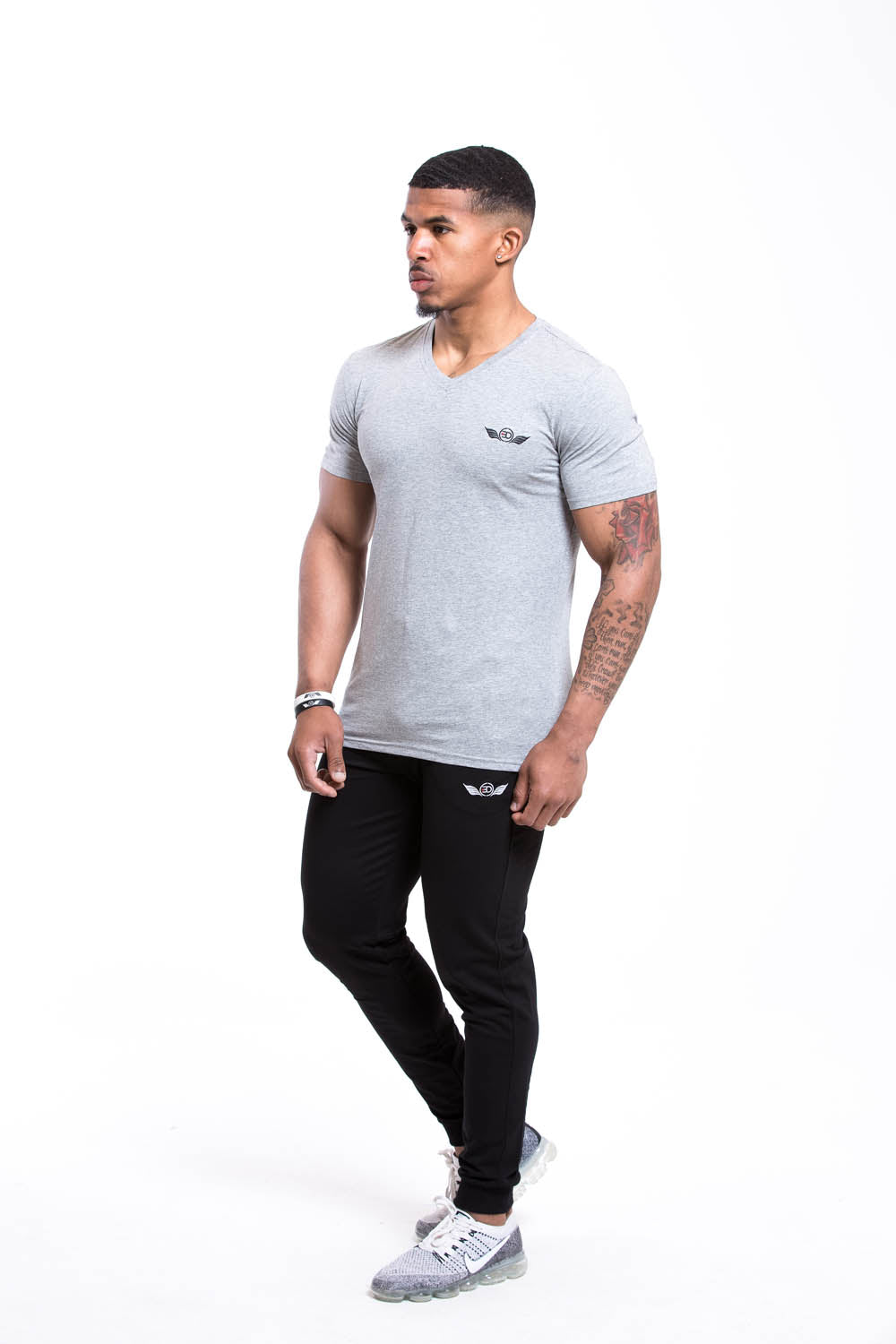 SETH V Neck T-shirt Grey
