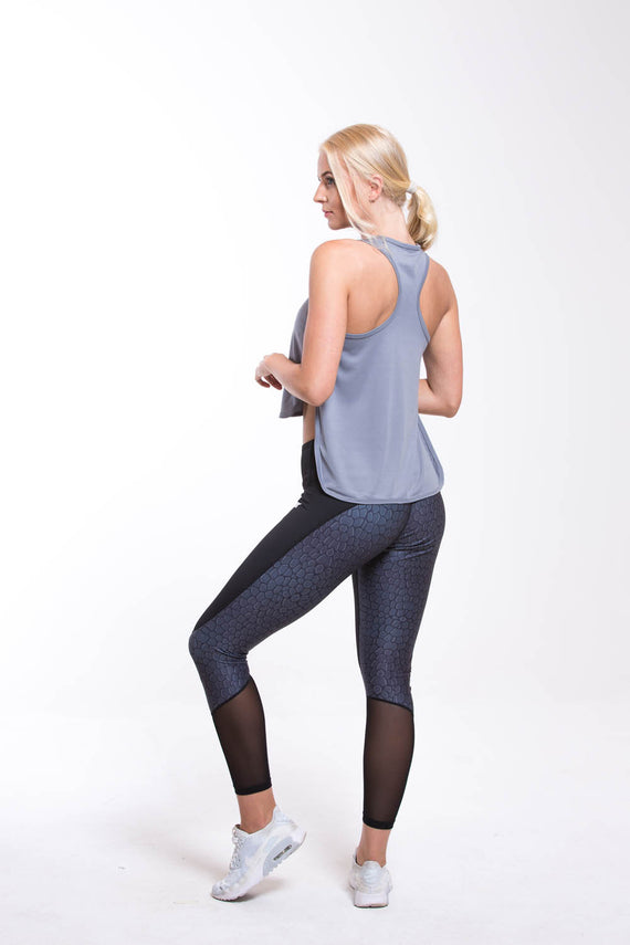 TURO Split Vest Top Grey