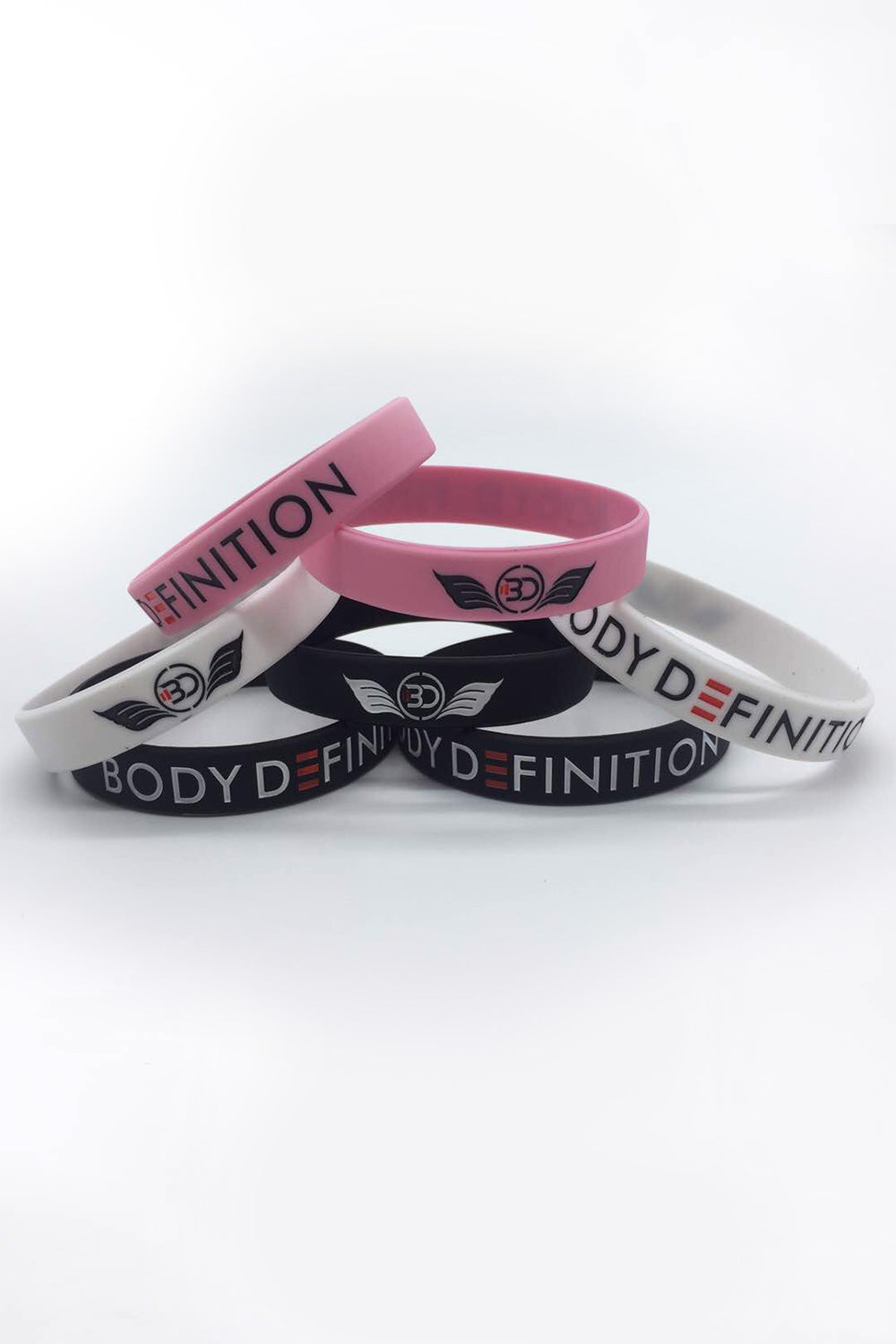 Wrist Bands Body Definition White Black Pink