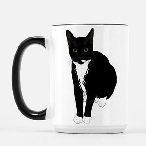 "Tuxedo Cat Ceramic Coffee Mug | Black Handle ""Picasso"" - mrscopycat"