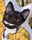 Freddie Mercury Cat Art Doll | Tuxedo Cat shaped Plush Pillow - mrscopycat
