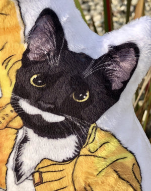 Freddie Mercury Cat Art Doll | Tuxedo Cat shaped Plush Pillow-MrsCopyCat
