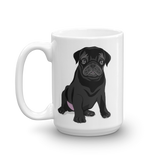 Black Pug Butt Coffee Mug-MrsCopyCat