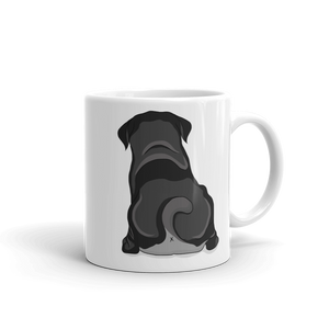 Black Pug Butt Mug - Drawfully