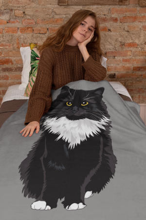 Medium Hair Tuxedo Cat Throw Blanket-MrsCopyCat