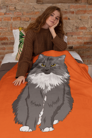 Gray Medium Hair Cat Throw Blanket-MrsCopyCat