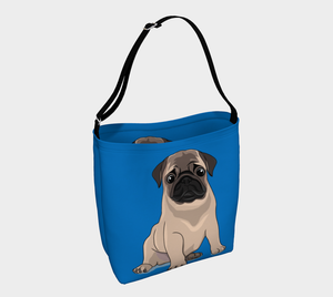 Pug Puppy Day Tote blue - Neoprene Shoulders Bag