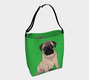 Pug Puppy Day Tote green - Neoprene Shoulders Bag