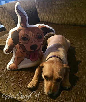 "Handmade Stuffed Dog shaped Pillow | ""Doxieterr"" - mrscopycat"