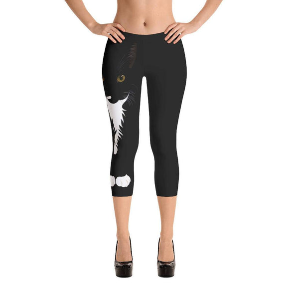 Cat Capris Leggings, Women's Cat Workout Pants, Running, Fitness Wear, Tuxedo Cat Lover Gift, Gift for Her, Cool Cat Creations, Cat Mom Gift