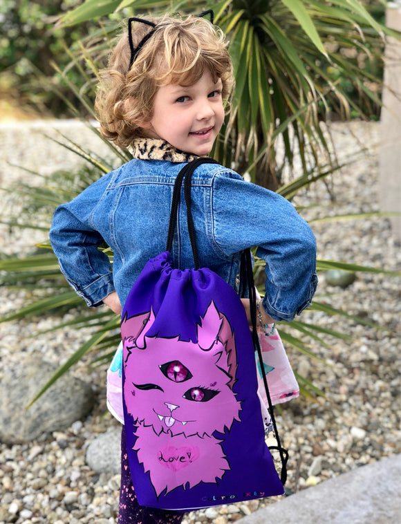 Crazy Cat Gifts, Weird Cat Drawstring Bag, Kids Gymnastic Tote, Gym Bag, Unique Creature Gifts for Kids, Little Cat Monster, Gift for Girls
