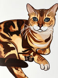 Bengal Cat Art Print, Bengal Kitty Cat, Cat Cartoon, Cat Lover Gift, Cat Gift Idea, Feline Home Decor, Cute Kitty Cat for Kids, Gift for Her