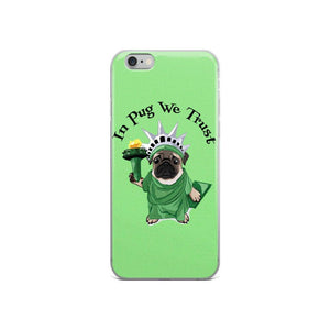 Green Lady Liberty Pug iPhone Case | In Pug We Trust-MrsCopyCat