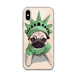 Pug Puppy Lady Liberty iPhone Case - mrscopycat